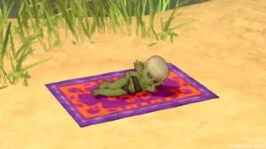 寝ている水着のドワ子さん「ビビデ」
