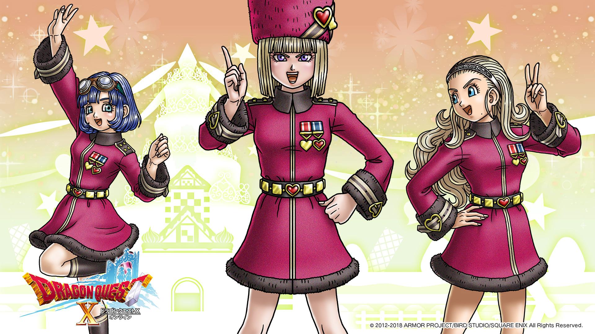 第6代アストルティア・クイーンヒストリカ博士と、勇者姫アンルシア、セラフィ